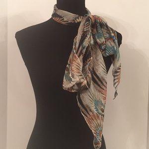 Feather Print Narrow Polyester Chiffon Scarf